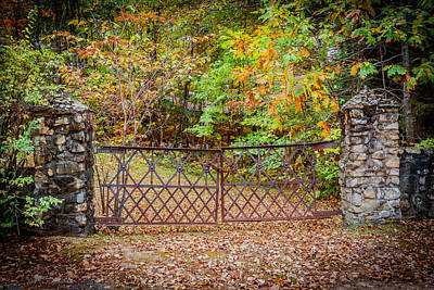 Photograph - No Entry  Locked Gate Near Conway Nh by Karen Stephenson