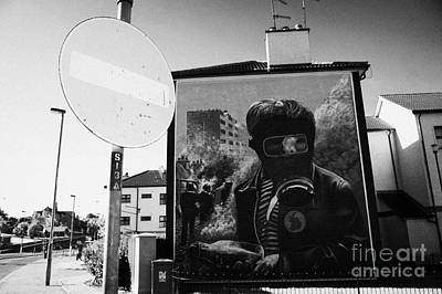 No Entry Roadsign And The Petrol Bomber At The Battle Of The Bogside Part Of The Peoples Gallery Murals In Rossville Street Of The Bogside Area Of Derry Londonderry Art Print