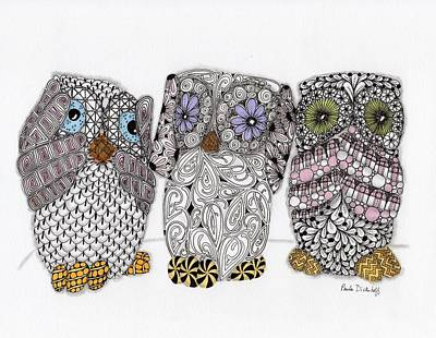 Abstract Patterns Drawing - No Evil Owls by Paula Dickerhoff