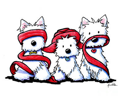 See No Evil Drawing - No Evil Westies by Kim Niles