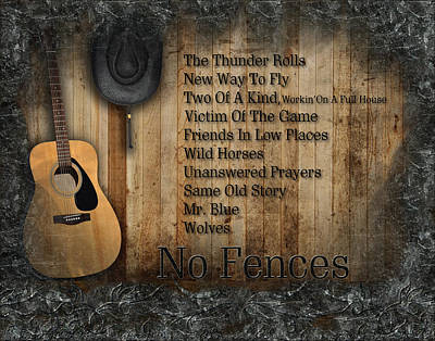Garth Brooks Digital Art - No Fences by Michael Damiani