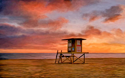 Painting - No Lifeguard On Duty At The Wedge by Michael Pickett