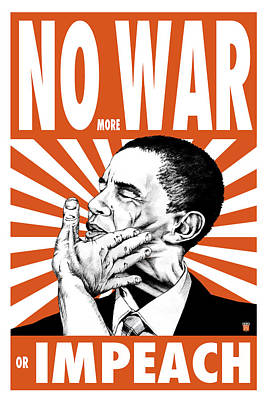 Free Speech Painting - No More War Or Impeach by Philip Slagter