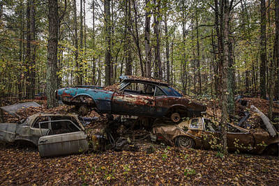 Blue Buick Photograph - No Parking by Debra and Dave Vanderlaan