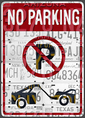 Signed Mixed Media - No Parking Sign Retro Recycled Vintage License Plate Art by Design Turnpike