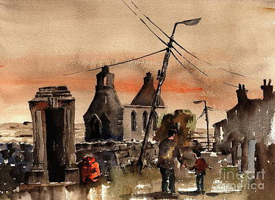 Painting - No Phone No Gas No Church by Val Byrne