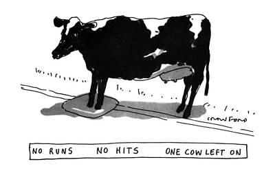 Run Drawing - No Runs No Hits One Cow Left by Michael Crawford