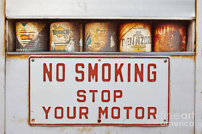 Stop Sign Photograph - No Smoking Stop Your Engine by Matt Suess