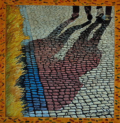Painting - No Striping On Colored Cobblestone Parking Of Praque by Andre Salvador