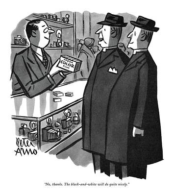 1951 Drawing - No, Thanks. The Black-and-white by Peter Arno