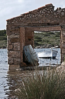 Photograph - Vintage Boat Framed In Nature Of Minorca Island - Hide And Seek by Pedro Cardona