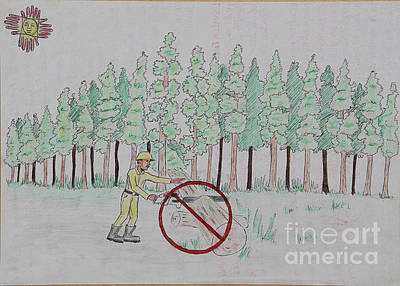 Drawing - No To Logging  by Lunda Vincente