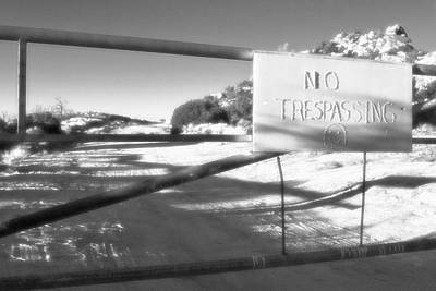 Cactus Photograph - No Trespassing Bw by Scott Campbell