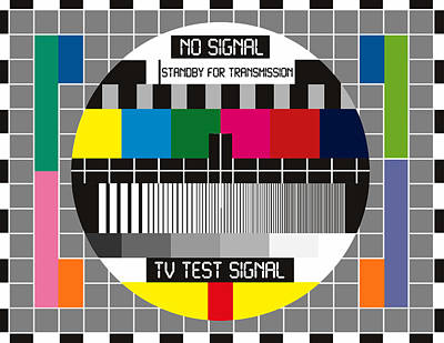 Digital Art - No Tv Signal Poster Art - Tv Graphics Poster Art In Color - No Signal - Standby For Transmission - T by Celestial Images