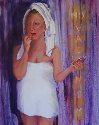 Woman In Shower Painting - No Vacancy by Carol Berning