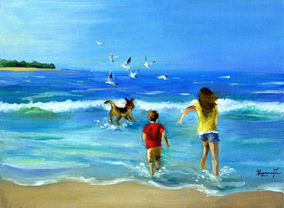 Dog Play Beach Painting - No Worries By Gianina Fan 7th Grade by California Coastal Commission