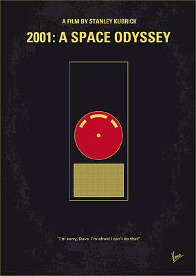 Simple Digital Art - No003 My 2001 A Space Odyssey 2000 Minimal Movie Poster by Chungkong Art