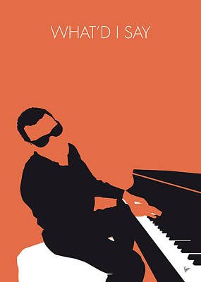 Stars Digital Art - No003 My Ray Charles Minimal Music Poster by Chungkong Art