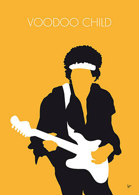 Guitars Digital Art - No014 My Jimi Hendrix Minimal Music Poster by Chungkong Art