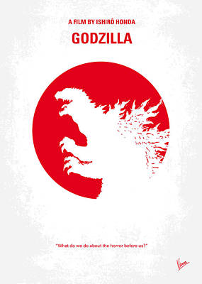 Monsters Digital Art - No029-2 My Godzilla 1954 Minimal Movie Poster.jpg by Chungkong Art