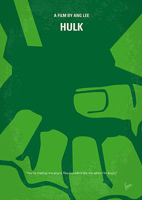 Green Digital Art - No040 My Hulk Minimal Movie Poster by Chungkong Art