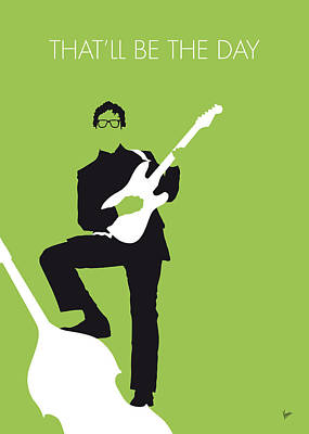 Guitar Digital Art - No056 My Buddy Holly Minimal Music Poster by Chungkong Art