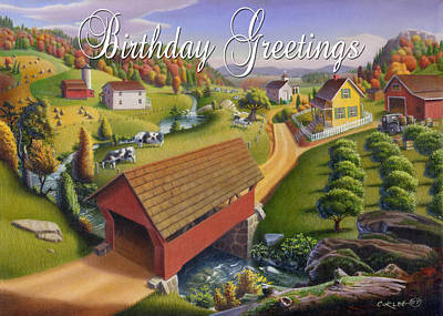 Old North Bridge Painting - no1 Birthday Greetings by Walt Curlee
