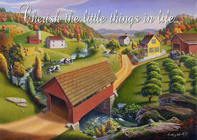 Old North Bridge Painting - no1 Cherish the little things in life by Walt Curlee