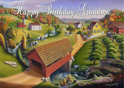 Old North Bridge Painting - no1 Happy Birthday Grandma by Walt Curlee