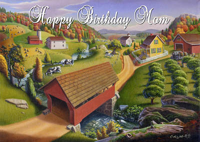 Old North Bridge Painting - no1 Happy Birthday Mom by Walt Curlee