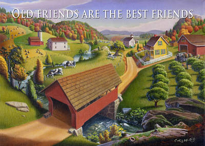 Old North Bridge Painting - no1 Old friends are the best friends by Walt Curlee