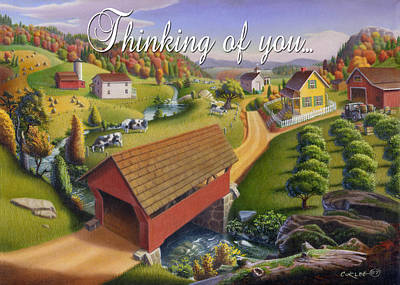 Covered Bridge Painting - no1 Thinking of you by Walt Curlee