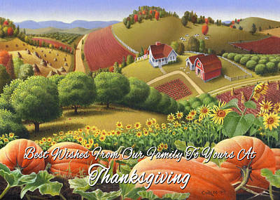 no10 Best Wishes From Our Family To Yours At Thanksgiving Original by Walt Curlee