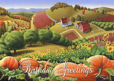 Sunflower Patch Painting - No10 Birthday Greetings Greeting Card  by Walt Curlee