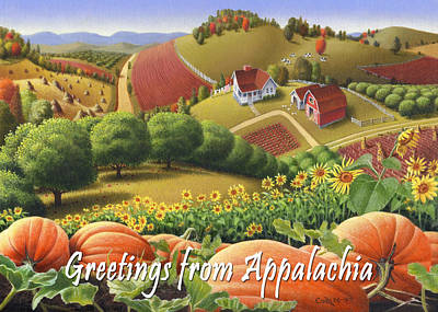 No10 Greetings From Appalachia Greeting Card Original by Walt Curlee