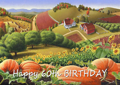 Sunflower Patch Painting - No10 Happy 60th Birthday Greeting Card by Walt Curlee