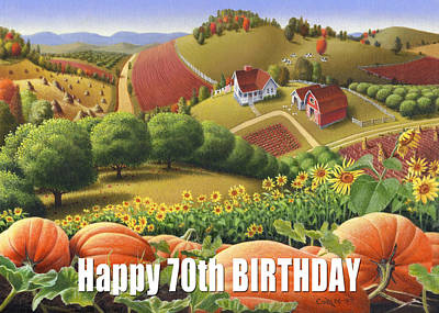 Sunflower Patch Painting - No10 Happy 70th Birthday Greeting Card  by Walt Curlee
