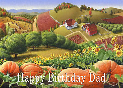 Sunflower Patch Painting - no10 Happy Birthday Dad by Walt Curlee