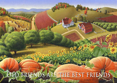 No10 Old Friends Are The Best Friends Greeting Card  Original by Walt Curlee