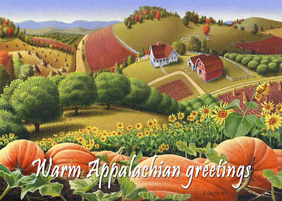 Sunflower Patch Painting - No10 Warm Appalachian Greetings Greeting Card  by Walt Curlee