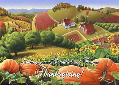 no10 Wishing you a Bountiful and Happy Thanksgiving Original by Walt Curlee