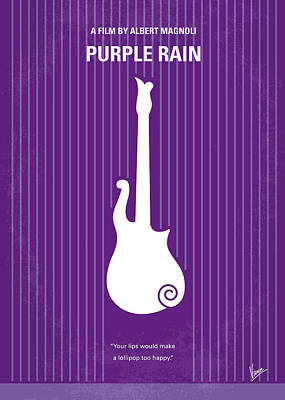 Purple Rain Digital Art - No124 My Purple Rain Minimal Movie Poster by Chungkong Art