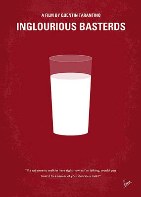 Tarantino Digital Art - No138 My Inglourious Basterds Minimal Movie Poster by Chungkong Art