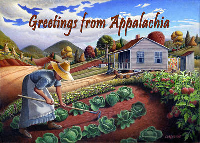 Garden Scene Painting - no13A Greetings from Appalachia by Walt Curlee
