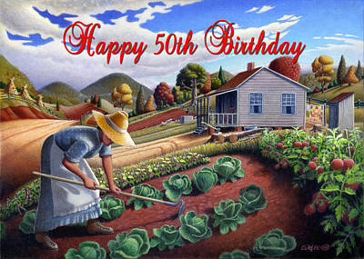 Dakota Painting - no13A Happy 50th Birthday by Walt Curlee