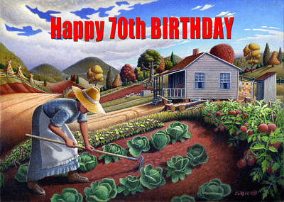 Amish Family Painting - no13A Happy 70th Birthday by Walt Curlee