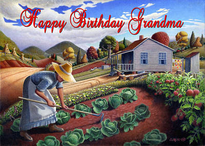 Amish Family Painting - no13A Happy Birthday Grandma by Walt Curlee