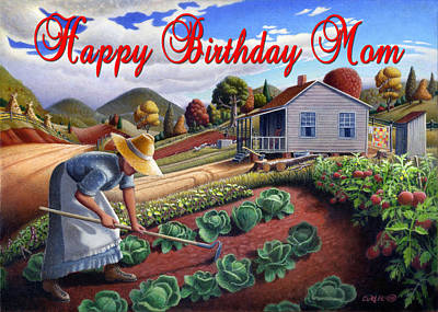 Grant Wood Painting - no13A Happy Birthday Mom by Walt Curlee