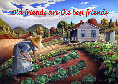 Garden Scene Painting - no13A Old friends are the best friends by Walt Curlee