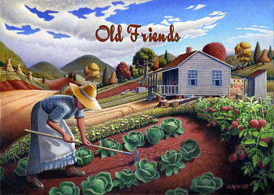 Garden Scene Painting - no13A Old Friends by Walt Curlee